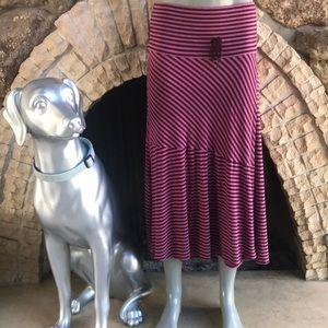 Athleta Faux Wrap Striped Purple Midi Skirt